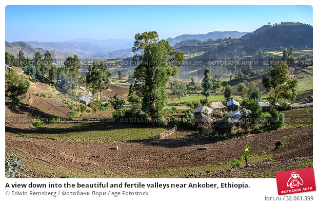 A view down into the beautiful and fertile valleys near Ankober, Ethiopia. Стоковое фото, фотограф Edwin Remsberg / age Fotostock / Фотобанк Лори
