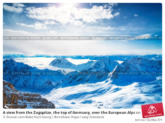 A view from the Zugspitze, the top of Germany, over the European Alps on a sunny day. Стоковое фото, фотограф Zoonar.com/Rabe Kurt-Georg / easy Fotostock / Фотобанк Лори