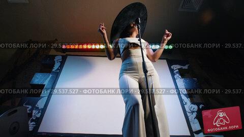 Купить «A woman in big retro hat singing on the stage», видеоролик № 29537527, снято 10 декабря 2018 г. (c) Константин Шишкин / Фотобанк Лори