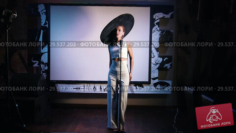 Купить «A woman in big retro hat standing on the stage holding a mic», видеоролик № 29537203, снято 11 декабря 2018 г. (c) Константин Шишкин / Фотобанк Лори