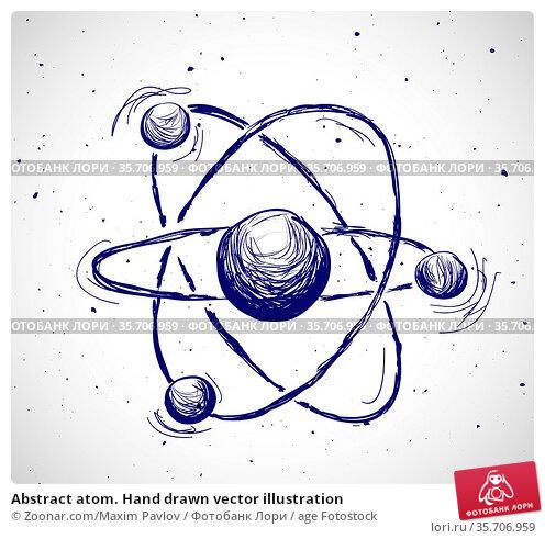 Abstract atom. Hand drawn vector illustration. Стоковое фото, фотограф Zoonar.com/Maxim Pavlov / age Fotostock / Фотобанк Лори