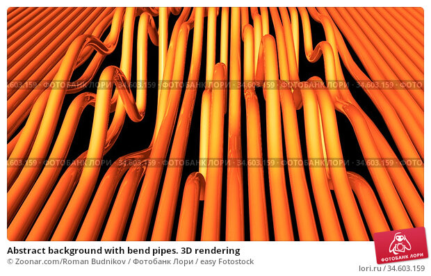 Abstract background with bend pipes. 3D rendering. Стоковое фото, фотограф Zoonar.com/Roman Budnikov / easy Fotostock / Фотобанк Лори
