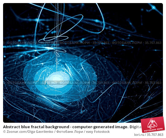 Abstract blue fractal background - computer-generated image. Digital... Стоковое фото, фотограф Zoonar.com/Olga Gavrilenko / easy Fotostock / Фотобанк Лори