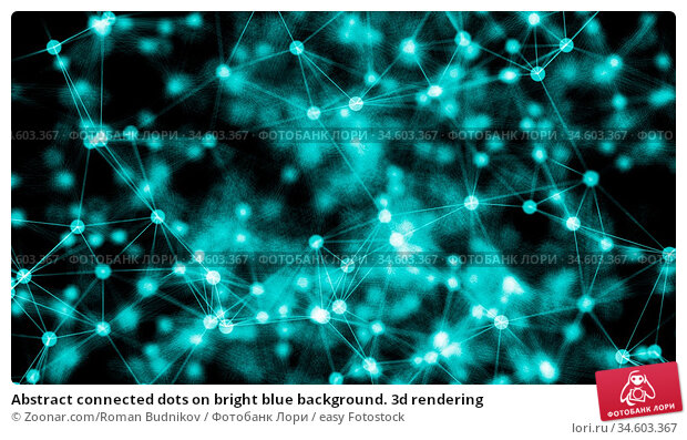 Abstract connected dots on bright blue background. 3d rendering. Стоковое фото, фотограф Zoonar.com/Roman Budnikov / easy Fotostock / Фотобанк Лори