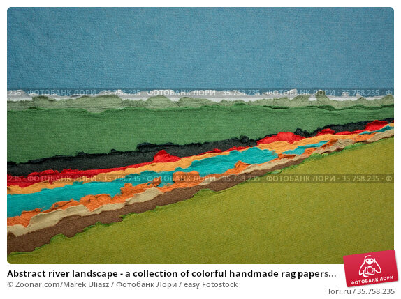 Abstract river landscape - a collection of colorful handmade rag papers... Стоковое фото, фотограф Zoonar.com/Marek Uliasz / easy Fotostock / Фотобанк Лори