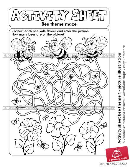 Activity sheet bee theme 1 - picture illustration. Стоковое фото, фотограф Zoonar.com/Klara Viskova / easy Fotostock / Фотобанк Лори