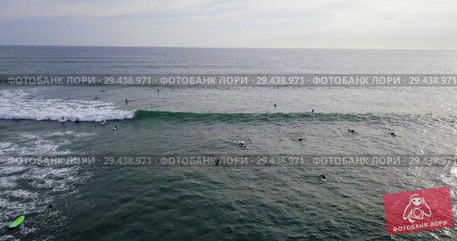 Купить «Aerial view at group of surfboards on sea waves», видеоролик № 29438971, снято 8 ноября 2018 г. (c) Andriy Bezuglov / Фотобанк Лори