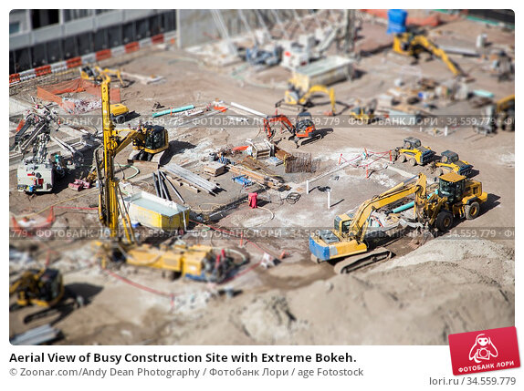 Aerial View of Busy Construction Site with Extreme Bokeh. Стоковое фото, фотограф Zoonar.com/Andy Dean Photography / age Fotostock / Фотобанк Лори