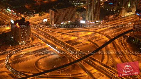 Купить «Aerial view of complex highway interchange in HongKong», видеоролик № 23427027, снято 23 октября 2014 г. (c) Elnur / Фотобанк Лори
