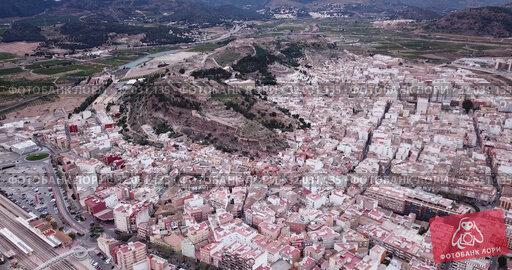 Купить «Aerial view of Sagunto city and antique roman fortress, Valencia, Spain», видеоролик № 32031135, снято 19 марта 2019 г. (c) Яков Филимонов / Фотобанк Лори