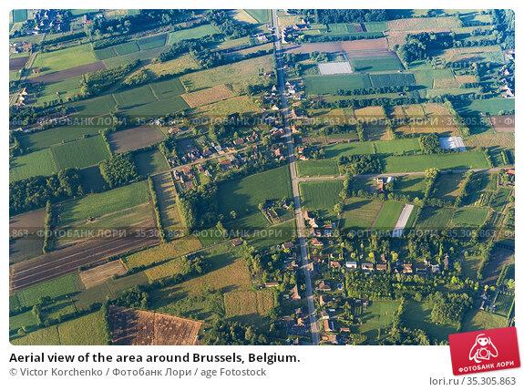 Aerial view of the area around Brussels, Belgium. Стоковое фото, фотограф Victor Korchenko / age Fotostock / Фотобанк Лори