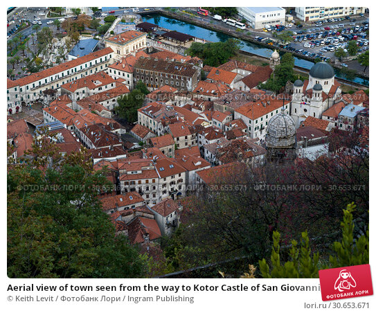 Купить «Aerial view of town seen from the way to Kotor Castle of San Giovanni, Kotor, Bay of Kotor, Montenegro», фото № 30653671, снято 23 ноября 2019 г. (c) Ingram Publishing / Фотобанк Лори