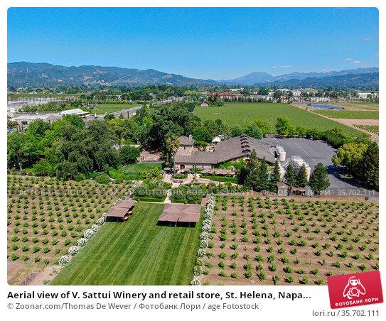 Aerial view of V. Sattui Winery and retail store, St. Helena, Napa... Стоковое фото, фотограф Zoonar.com/Thomas De Wever / age Fotostock / Фотобанк Лори