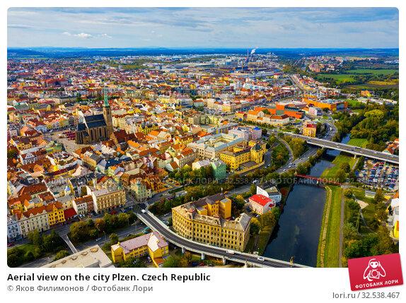 Купить «Aerial view on the city Plzen. Czech Republic», фото № 32538467, снято 11 октября 2019 г. (c) Яков Филимонов / Фотобанк Лори