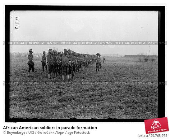 Купить «African American soldiers in parade formation», фото № 29765975, снято 18 августа 2019 г. (c) age Fotostock / Фотобанк Лори