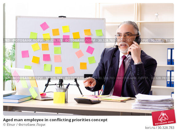 Купить «Aged man employee in conflicting priorities concept», фото № 30328783, снято 25 декабря 2018 г. (c) Elnur / Фотобанк Лори