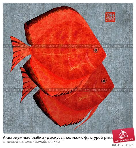 Аквариумные рыбки - дискусы, коллаж с фактурой рисовой бумаги, иллюстрация № 11175 (c) Tamara Kulikova / Фотобанк Лори