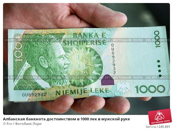 Албанская банкнота достоинством в 1000 лек в мужской руке, фото № 245891, снято 30 августа 2007 г. (c) Fro / Фотобанк Лори
