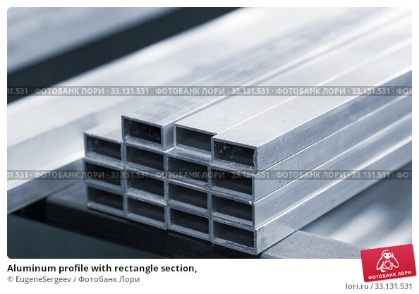 Купить «Aluminum profile with rectangle section,», фото № 33131531, снято 10 февраля 2020 г. (c) EugeneSergeev / Фотобанк Лори