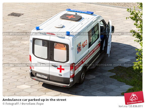 Купить «Ambulance car parked up in the street», фото № 33836811, снято 7 июля 2019 г. (c) FotograFF / Фотобанк Лори