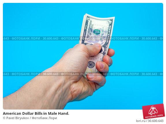Купить «American Dollar Bills in Male Hand.», фото № 30600643, снято 26 мая 2019 г. (c) Pavel Biryukov / Фотобанк Лори