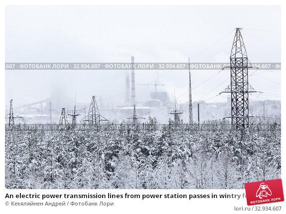Купить «An electric power transmission lines from power station passes in wintry forest, snowy wires», фото № 32934607, снято 3 января 2013 г. (c) Кекяляйнен Андрей / Фотобанк Лори