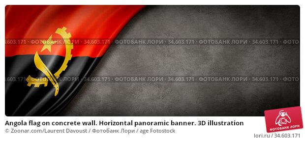 Angola flag on concrete wall. Horizontal panoramic banner. 3D illustration. Стоковое фото, фотограф Zoonar.com/Laurent Davoust / age Fotostock / Фотобанк Лори