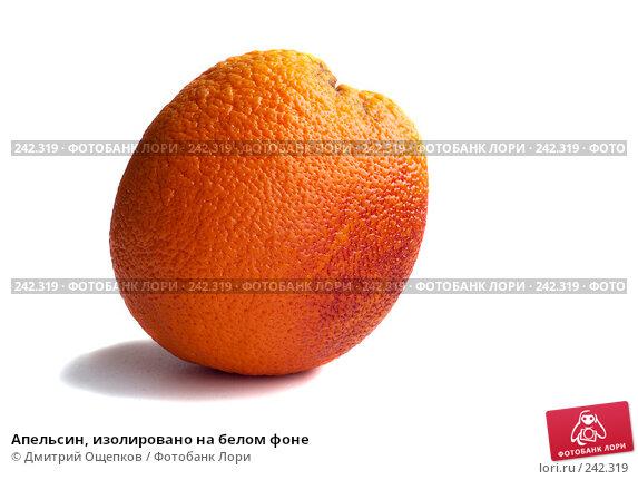 Апельсин, изолировано на белом фоне, фото № 242319, снято 25 октября 2016 г. (c) Дмитрий Ощепков / Фотобанк Лори