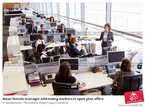 Купить «Asian female manager addressing workers in open plan office», фото № 24628735, снято 24 июня 2015 г. (c) easy Fotostock / Фотобанк Лори