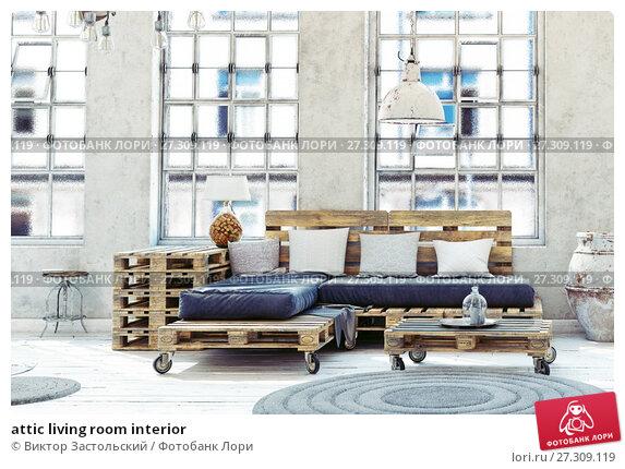 Купить «attic living room interior», фото № 27309119, снято 21 февраля 2018 г. (c) Виктор Застольский / Фотобанк Лори