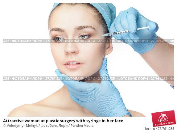 Купить «Attractive woman at plastic surgery with syringe in her face», фото № 27761235, снято 6 июня 2019 г. (c) PantherMedia / Фотобанк Лори