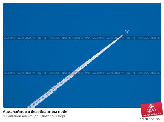 Авиалайнер в безоблачном небе, эксклюзивное фото № 223955, снято 6 марта 2008 г. (c) Сайганов Александр / Фотобанк Лори
