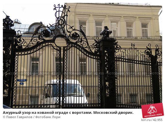 Купить «Ажурный узор на кованой ограде с воротами. Московский дворик.», фото № 42955, снято 9 мая 2007 г. (c) Павел Гаврилов / Фотобанк Лори