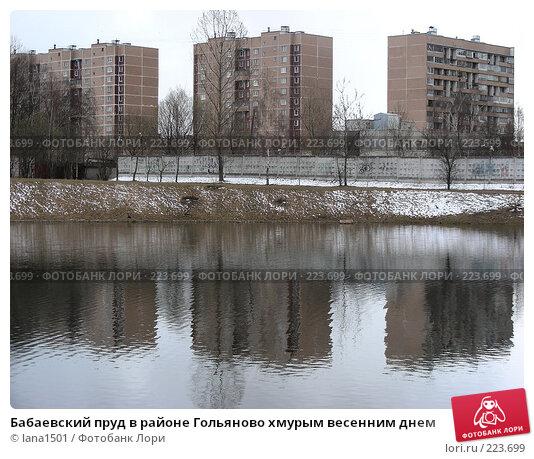Купить «Бабаевский пруд в районе Гольяново хмурым весенним днем», эксклюзивное фото № 223699, снято 9 апреля 2007 г. (c) lana1501 / Фотобанк Лори