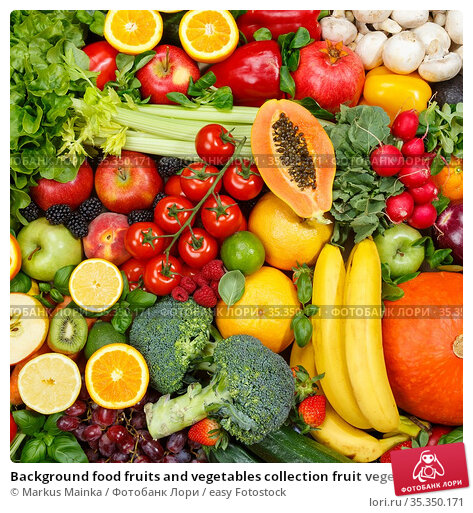 Background food fruits and vegetables collection fruit vegetable square... Стоковое фото, фотограф Markus Mainka / easy Fotostock / Фотобанк Лори