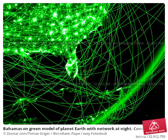Bahamas on green model of planet Earth with network at night. Concept of green technology, communication and travel. 3D illustration. Elements of this image furnished by NASA. Стоковое фото, фотограф Zoonar.com/Tomas Griger / easy Fotostock / Фотобанк Лори
