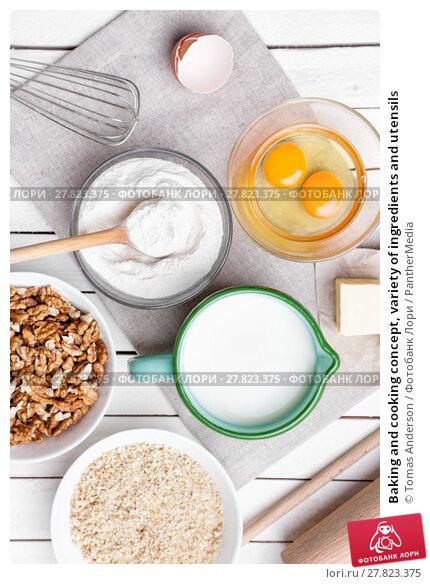 Купить «Baking and cooking concept, variety of ingredients and utensils», фото № 27823375, снято 20 октября 2018 г. (c) PantherMedia / Фотобанк Лори