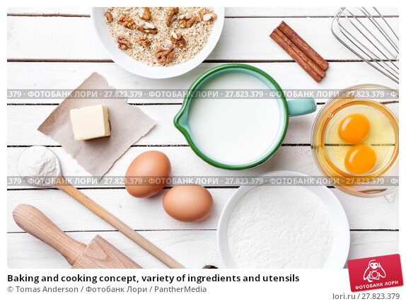 Купить «Baking and cooking concept, variety of ingredients and utensils», фото № 27823379, снято 21 февраля 2018 г. (c) PantherMedia / Фотобанк Лори