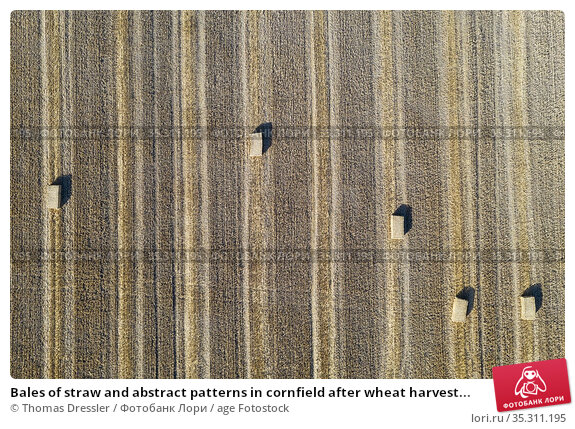 Bales of straw and abstract patterns in cornfield after wheat harvest... Стоковое фото, фотограф Thomas Dressler / age Fotostock / Фотобанк Лори
