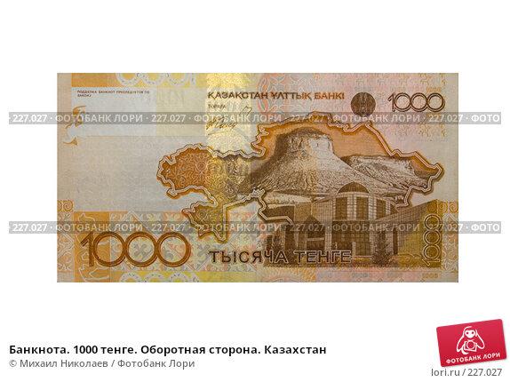 Купить «Банкнота. 1000 тенге. Оборотная сторона. Казахстан», фото № 227027, снято 19 марта 2008 г. (c) Михаил Николаев / Фотобанк Лори