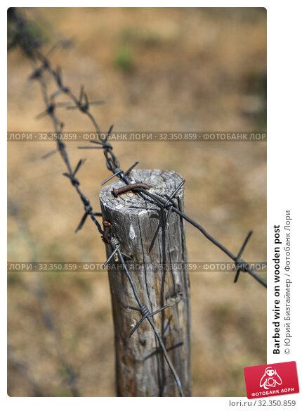 Купить «Barbed wire on wooden post», фото № 32350859, снято 8 июля 2013 г. (c) Юрий Бизгаймер / Фотобанк Лори