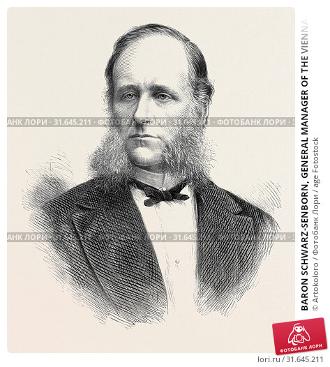 Купить «BARON SCHWARZ-SENBORN, GENERAL MANAGER OF THE VIENNA UNIVERSAL EXHIBITION, 1873», фото № 31645211, снято 3 января 2013 г. (c) age Fotostock / Фотобанк Лори