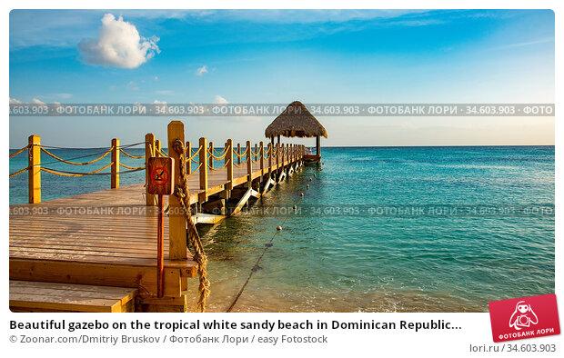 Beautiful gazebo on the tropical white sandy beach in Dominican Republic... Стоковое фото, фотограф Zoonar.com/Dmitriy Bruskov / easy Fotostock / Фотобанк Лори