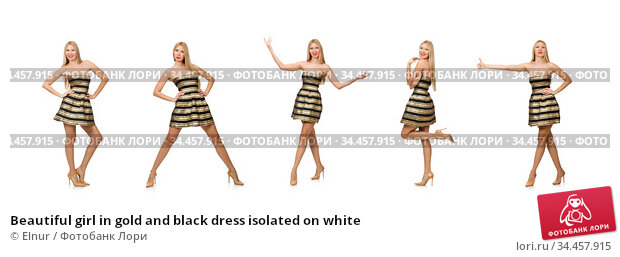 Beautiful girl in gold and black dress isolated on white. Стоковое фото, фотограф Elnur / Фотобанк Лори