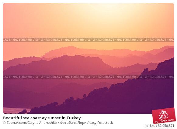 Beautiful sea coast ay sunset in Turkey. Стоковое фото, фотограф Zoonar.com/Galyna Andrushko / easy Fotostock / Фотобанк Лори