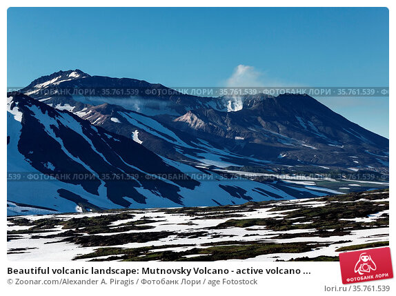 Beautiful volcanic landscape: Mutnovsky Volcano - active volcano ... Стоковое фото, фотограф Zoonar.com/Alexander A. Piragis / age Fotostock / Фотобанк Лори