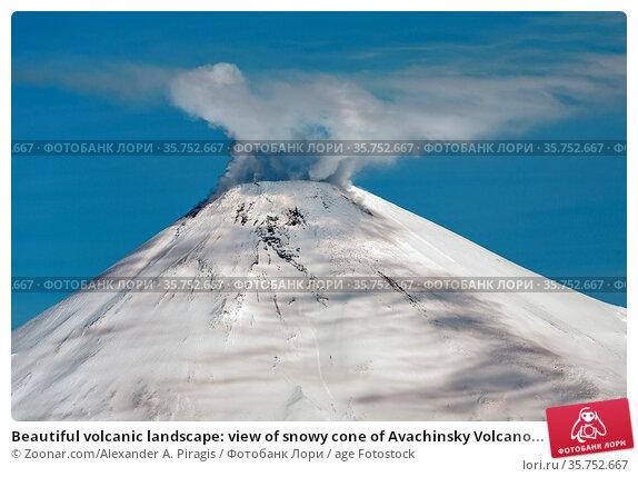 Beautiful volcanic landscape: view of snowy cone of Avachinsky Volcano... Стоковое фото, фотограф Zoonar.com/Alexander A. Piragis / age Fotostock / Фотобанк Лори