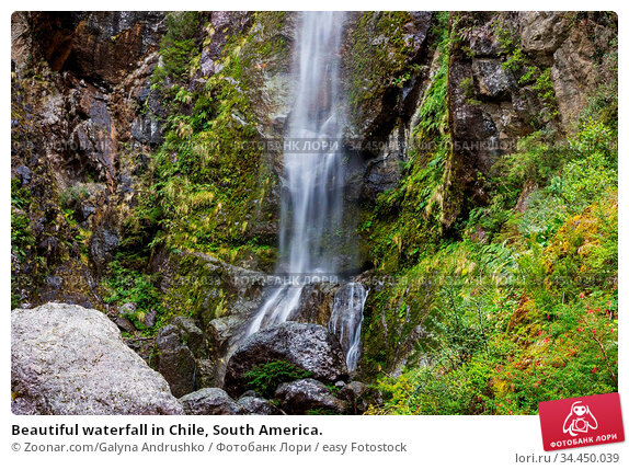 Beautiful waterfall in Chile, South America. Стоковое фото, фотограф Zoonar.com/Galyna Andrushko / easy Fotostock / Фотобанк Лори