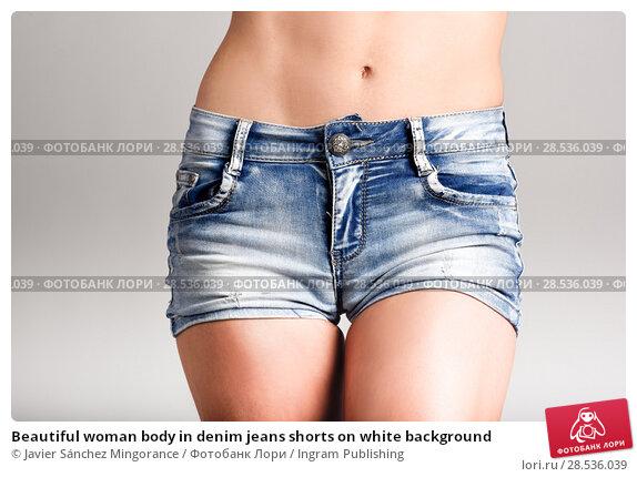 Купить «Beautiful woman body in denim jeans shorts on white background», фото № 28536039, снято 12 января 2016 г. (c) Ingram Publishing / Фотобанк Лори