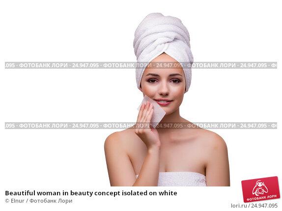 Купить «Beautiful woman in beauty concept isolated on white», фото № 24947095, снято 5 сентября 2016 г. (c) Elnur / Фотобанк Лори